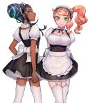 2girls alternate_costume apron arms_behind_back bangs black_hair braid buttons closed_mouth commentary_request dark_skin detached_collar earrings enmaided eyelashes garter_straps green_eyes green_hair hair_bun hoop_earrings jewelry looking_at_viewer maid maid_dress maid_headdress multicolored_hair multiple_girls nessa_(pokemon) orange_hair pokemon pokemon_(game) pokemon_swsh sakai_(motomei) side_ponytail smile sonia_(pokemon) swept_bangs thigh-highs two-tone_hair waist_apron white_apron white_legwear