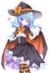 1girl alternate_costume black_cape black_dress blue_eyes blue_hair bow candy cape cape_lift cirno dress eyebrows_visible_through_hair food halloween halloween_costume hat highres ice ice_wings kuraaken legs_together lifted_by_self lollipop orange_bow orange_cape pumpkin short_hair simple_background solo striped striped_legwear swirl_lollipop thigh-highs thighs touhou white_background wings witch_hat