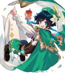 1boy :d apple bangs bard black_hair blue_eyes blue_hair blush braid brown_footwear cape commentary_request dated eyebrows_visible_through_hair flower food fruit full_body genshin_impact gradient_hair green_cape green_headwear green_shorts hair_between_eyes hair_ornament hat hat_flower highres holding holding_food holding_fruit long_sleeves looking_at_viewer macchoko male_focus medium_hair multicolored_hair open_mouth pantyhose shirt shoes shorts sidelocks signature simple_background smile solo twin_braids venti_(genshin_impact) vision_(genshin_impact) white_background white_legwear white_shirt