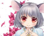 1girl animal_ears ari_don arms_up bangs blue_capelet bob_cut capelet commentary_request eyebrows_visible_through_hair fingernails floral_background grey_hair head_tilt light_blush looking_at_viewer mouse_ears nazrin red_eyes ribbon short_hair smile solo standing steepled_fingers touhou upper_body white_background yellow_ribbon