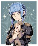 1girl aiu_eo11 blue_hair braid brown_eyes closed_mouth crown_braid female_focus fire_emblem fire_emblem:_fuukasetsugetsu fire_emblem:_three_houses fire_emblem_16 garreg_mach_monastery_uniform intelligent_systems long_sleeves marianne_von_edmund nintendo solo twitter_username uniform upper_body