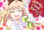 >_< 1girl :d bangs blonde_hair bouquet bow closed_eyes collarbone commentary_request dress elbow_gloves eyebrows_visible_through_hair flower frilled_dress frills gloves green_bow hair_bow highres long_hair namori ootsubo_yuka open_mouth petals rose rose_petals smile solo sparkle toshinou_kyouko translated white_dress xd yuru_yuri