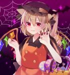+_+ 1girl alternate_costume animal_ears bangs basket bat black_headwear blonde_hair buttons candy candy_cane cat_ears closed_mouth collared_shirt crystal eyebrows_visible_through_hair fang flandre_scarlet food hair_between_eyes halloween halloween_basket halloween_costume hat highres holding holding_basket lollipop mob_cap orange_shirt orange_skirt puffy_short_sleeves puffy_sleeves purple_background red_eyes red_nails shirt short_hair short_sleeves side_ponytail silk skirt solo spider_web star_(sky) touhou upper_body wings yurui_tuhu