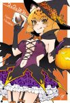 1girl :p alternate_costume animal_ears black_cape black_gloves blonde_hair blush bow bowtie cape commentary_request cowboy_shot eyebrows_visible_through_hair frilled_skirt frills garter_straps gloves halloween halloween_basket halloween_costume hat hat_bow hatagaya jaguar_(kemono_friends) jaguar_ears jaguar_girl jaguar_print jaguar_tail kemono_friends midriff_peek navel orange_neckwear print_skirt purple_skirt short_hair skirt sleeveless solo tail tongue tongue_out witch_hat yellow_eyes