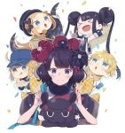 >_< 1boy 4girls :d :q abigail_williams_(fate/grand_order) animal arm_up armpits artoria_pendragon_(all) bangs baseball_cap black_dress black_hair black_kimono blonde_hair blue_eyes blue_headwear blush brown_scarf cake cake_slice closed_eyes commentary_request confetti double_bun double_v dress eyebrows_visible_through_hair fate/grand_order fate/requiem fate_(series) food fruit hair_through_headwear hat highres holding holding_plate japanese_clothes katsushika_hokusai_(fate/grand_order) kimono long_hair long_sleeves motion_lines multiple_girls mysterious_heroine_xx_(foreigner) octopus open_mouth parted_bangs plate puffy_long_sleeves puffy_sleeves scarf short_sleeves sleeveless sleeveless_dress sleeves_past_wrists smile strawberry tasuki tentacles tokitarou_(fate/grand_order) tongue tongue_out totatokeke twintails v v-shaped_eyebrows very_long_hair voyager_(fate/requiem) white_background xd yang_guifei_(fate/grand_order)