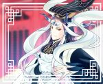 1boy blue_hair chinese_clothes eyeshadow fabulous fate/grand_order fate_(series) forehead_jewel hair_ornament hat hinoya long_hair looking_at_viewer makeup male_focus multicolored_hair qin_shi_huang_(fate/grand_order) red_eyes simple_background smile solo upper_body very_long_hair white_hair