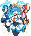 1girl 3boys android arm_cannon axl bangs blonde_hair blue_eyes blue_hair blush breasts brown_hair eyebrows_visible_through_hair green_eyes headphones helmet highres iroyopon long_hair looking_at_viewer multiple_boys open_mouth ribbon rico_(rockman) rockman rockman_x rockman_x_dive short_hair shorts side_ponytail simple_background smile spiky_hair weapon white_background x_(rockman) zero_(rockman)
