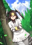 bird_girl bird_tail bird_wings blonde_hair brown_hair brown_neckwear brown_shirt collared_shirt commentary_request cowboy_shot hair_between_eyes happa_(cloverppd) head_wings jacket kemono_friends kemono_friends_3 leaning_to_the_side long_hair long_sleeves looking_at_viewer multicolored_hair necktie northern_goshawk_(kemono_friends) official_art pantyhose pleated_skirt shirt skirt striped striped_neckwear striped_sleeves tree uniform white_hair white_jacket white_legwear white_neckwear white_skirt wings yellow_eyes