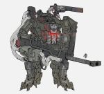 absurdres glowing grey_background gun highres holding holding_gun holding_weapon looking_ahead mecha no_humans obokhan open_mouth original shoulder_cannon skull solo standing weapon