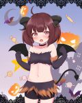 1girl :o ahoge animal_print bandeau bangs bat_print bat_wings black_choker black_gloves black_horns black_shorts blush brown_eyes brown_hair candy castle choker collarbone commentary_request cowboy_shot curled_horns demon_tail demon_wings flat_chest food fur_trim gloves halloween hands_up highres horns jigurii lollipop looking_at_viewer midriff navel open_mouth shorts solo stomach tail touhoku_kiritan voiceroid wings