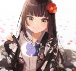1girl bangs black_hair blunt_bangs blush bow bowtie breasts brown_hair character_request collarbone commentary_request copyright_request eyebrows_visible_through_hair flower green_eyes grin hair_flower hair_ornament highres japanese_clothes kimono long_hair long_sleeves looking_at_viewer off_shoulder open_clothes open_mouth petals red_flower sailor_collar shigure_ui shirt simple_background sleeves_past_wrists smile solo symbol_commentary white_sailor_collar white_shirt