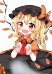 1girl absurdres alternate_costume ascot bangs begging black_dress black_headwear blonde_hair bow collared_shirt dress eyebrows_visible_through_hair fangs flandre_scarlet frilled_dress frills halloween halloween_costume hanen_(borry) hat hat_bow hat_ribbon heart highres medium_hair mob_cap open_mouth orange_bow orange_ribbon orange_shirt puffy_short_sleeves puffy_sleeves red_eyes red_neckwear ribbon shirt short_sleeves side_ponytail simple_background solo touhou white_background wings