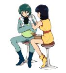 1boy 1girl :t bandage_on_face bandages black_hair blue_eyes blue_hair boots dress fa_yuiry gundam haro highres inasaba jumpsuit kamille_bidan pout short_hair sitting sweater turtleneck turtleneck_sweater yellow_dress zeta_gundam