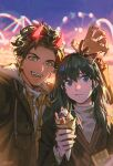 1girl :d absurdres alzi_xiaomi amusement_park animal_ears black_hair blue_eyes blurry blurry_background braid brown_hair brown_jacket byleth_(fire_emblem) byleth_(fire_emblem)_(female) claude_von_riegan claw_pose closed_mouth crepe deer_antlers deer_ears earrings fake_animal_ears fake_horns fangs ferris_wheel fire_emblem fire_emblem:_three_houses food food_on_face fruit green_eyes highres holding holding_food horns jacket jewelry long_hair looking_at_viewer open_mouth shirt short_hair signature smile teeth turtleneck upper_body whipped_cream white_shirt
