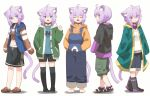 1girl :3 ahoge alternate_costume animal_ear_fluff animal_ears bangs black_collar boots cat_ears cat_girl cat_tail collar crocs hair_between_eyes highres hololive jacket looking_at_viewer multiple_views nekomata_okayu onigiri_print overalls ponono purple_hair raincoat short_hair shorts simple_background smile tail variations violet_eyes virtual_youtuber white_background