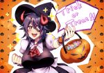 1girl alternate_costume ascot breasts candy eyepatch fake_horns food halloween halloween_costume hat highres horns jack-o'-lantern kantai_collection large_breasts puffy_short_sleeves puffy_sleeves purple_hair red_neckwear short_hair short_sleeves solo tenryuu_(kantai_collection) trick_or_treat upper_body witch_hat yellow_eyes yuudadou