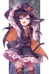 1girl animal_ears asashio_(kantai_collection) bangs black_dress black_hair blue_eyes bow cape cat_ears cat_tail dated dress eyebrows_visible_through_hair fangs frilled_dress frills gloves hair_bow halloween halloween_costume hat kantai_collection long_hair long_sleeves nigo open_mouth pinafore_dress remodel_(kantai_collection) shirt signature simple_background solo striped striped_legwear tail thigh-highs torpedo_tubes white_gloves white_shirt witch_hat