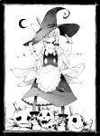 1girl aki_maki_yuu apron black_headwear black_legwear black_skirt black_vest boots bow braid commentary_request crescent_moon full_body gloves greyscale hair_bow hair_ornament hairclip hands_on_headwear hat highres jack-o'-lantern kirisame_marisa lantern long_hair looking_at_viewer monochrome moon pantyhose safety_pin shirt short_sleeves single_braid skirt solo sparkle standing star_(symbol) star_hair_ornament touhou vest waist_apron white_shirt witch_hat