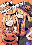 2girls alternate_color asameshi back_bow bat_hair_ornament black_hairband black_headwear black_shirt black_skirt blonde_hair blush_stickers bow bowtie brooch candy candy_cane closed_eyes commentary english_text fang flandre_scarlet food grin hair_bow hair_ornament hairband halloween hand_on_another's_head hand_on_hip hat holding jack-o'-lantern jewelry kirisame_marisa lollipop long_hair looking_at_viewer multiple_girls one_eye_closed open_mouth orange_background orange_neckwear orange_skirt orange_vest purple_bow purple_neckwear shirt short_hair skin_fang skirt sleeveless sleeveless_shirt smile smiley_face swirl_lollipop touhou upper_body vest witch_hat yellow_eyes