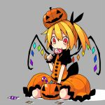 1girl :t alternate_color asameshi bangs black_ribbon blonde_hair blush_stickers candy candy_cane commentary_request crystal dress flandre_scarlet food food_in_mouth grey_background hair_ribbon holding holding_food jack-o'-lantern lollipop orange_dress ponytail pumpkin_on_head red_eyes ribbon seiza short_hair simple_background sitting solo swirl_lollipop touhou wings wrapped_candy