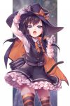 1girl animal_ears asashio_(kantai_collection) bangs black_dress black_hair blue_eyes bow cape cat_ears cat_tail dated dress eyebrows_visible_through_hair fangs frilled_dress frills gloves hair_bow halloween halloween_costume hat highres kantai_collection long_hair long_sleeves nigo open_mouth pinafore_dress remodel_(kantai_collection) shirt signature simple_background solo striped striped_legwear tail thigh-highs torpedo_tubes white_gloves white_shirt witch_hat