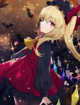 1girl absurdres alternate_color bat black_headwear black_shirt blonde_hair bow cowboy_shot daimaou_ruaeru english_commentary flandre_scarlet from_side hat hat_bow heart highres long_hair long_sleeves looking_at_viewer mob_cap red_bow red_eyes red_nails red_skirt red_vest shirt side_ponytail skirt solo sparkle touhou vest yellow_neckwear