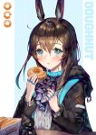 1girl :t a0lp amiya_(arknights) animal_ears arknights bangs black_jacket blue_eyes blue_neckwear blush brown_hair character_doll doctor_(arknights) doughnut food grey_shirt hair_between_eyes hands_up highres holding holding_food jacket jewelry long_hair long_sleeves looking_at_viewer neck_ring rabbit_ears ring shirt solo upper_body