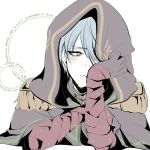 1boy 846shen bandaged_arm bandages blue_hair blush copyright_request eyebrows_visible_through_hair eyes_visible_through_hair green_eyes highres hood hood_up male_focus parted_lips solo turtleneck upper_body