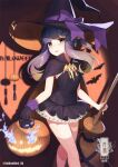 1girl alternate_costume artist_name bangs basket bow broom cape commentary_request dress eyebrows_visible_through_hair gloves halloween halloween_costume hat hat_bow highres jack-o'-lantern kantai_collection long_hair looking_at_viewer pumpkin purple_hair smile solo thigh-highs tsushima_(kantai_collection) unidentified_nk witch witch_hat