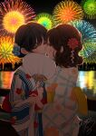 2girls aerial_fireworks black_hair blue_flower blush brown_hair commentary_request eye_contact fan fence fireworks floral_print flower hair_flower hair_ornament highres holding holding_fan imminent_kiss japanese_clothes kimono long_sleeves looking_at_another multiple_girls night night_sky obi original outdoors paper_fan parted_lips print_kimono profile red_flower reflection sash sheepd signature silhouette sky uchiwa water white_kimono wide_sleeves yellow_eyes yukata yuri