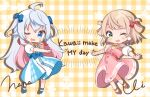 2girls :d ;d ahoge artist_self-insert bangs blonde_hair blue_bow blue_eyes blue_footwear blush_stickers bow braid buttons chibi colored_inner_hair commentary_request crossed_bangs dot_nose dress earrings english_text eyebrows_visible_through_hair fang full_body gingham gingham_background green_eyes grey_hair hair_between_eyes hair_bow heart high_belt highres indie_virtual_youtuber jewelry kagura_nana light_brown_hair long_hair multicolored_hair multiple_girls neck_ribbon official_art one_eye_closed open_mouth outstretched_arms pink_hair puffy_short_sleeves puffy_sleeves red_bow red_footwear red_pepper_earrings ribbon shigure_ui shigure_ui_(vtuber) shirt shoes short_hair short_sleeves signature skin_fang smile standing standing_on_one_leg two_side_up very_long_hair virtual_youtuber waist_bow white_shirt yellow_bow yellow_neckwear