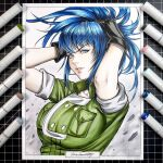 1girl adjusting_hair bangs black_gloves blue_eyes blue_hair closed_mouth earrings gloves green_jacket green_shirt hair_between_eyes high_ponytail jacket jewelry leona_heidern long_hair marker_(medium) shirt sleeves_rolled_up solo the_king_of_fighters traditional_media tying_hair tyto_alba