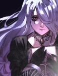 1girl black_background black_gloves black_survival blood bloody_tears blue_pupils book character_request closed_mouth cross gloves hair_over_one_eye highres holding holding_book jewelry long_hair necklace nun ryopie simple_background solo upper_body white_hair