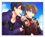 2boys bangs black_collar black_gloves black_shirt brown_eyes brown_hair closed_eyes closed_mouth collar cup day disposable_cup drinking drinking_straw earrings eyebrows_visible_through_hair fushimi_gaku gloves hair_between_eyes holding holding_cup jacket jewelry kenmochi_touya long_sleeves male_focus mole mole_under_eye multiple_boys nijisanji open_clothes open_jacket open_mouth outdoors partially_fingerless_gloves purple_hair purple_jacket red_jacket shikino_yuki shirt upper_body virtual_youtuber