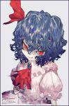 1girl blue_hair brooch commentary_request cravat grin hair_ribbon jewelry kazeto no_hat no_headwear pink_shirt pink_skirt puffy_short_sleeves puffy_sleeves red_eyes red_neckwear red_ribbon remilia_scarlet ribbon shirt short_hair short_sleeves skirt smile solo touhou twitter_username upper_body