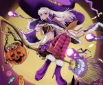 1girl bare_shoulders book broom broom_riding candy capelet closed_mouth cute detached_sleeves fire_emblem fire_emblem:_fuukasetsugetsu fire_emblem:_three_houses fire_emblem_16 food full_body full_moon halloween halloween_basket halloween_costume hat high_heels highres holding holding_book intelligent_systems large_hat loli long_hair lysithea_von_ordelia magic moon navel night nintendo pink_eyes pink_legwear pleated_skirt purple_footwear purple_headwear purple_skirt skirt smile striped striped_legwear super_smash_bros. thigh-highs usausanopopo5 white_hair witch witch_costume witch_hat