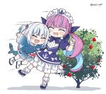 2girls :d ahoge animal_costume aqua_hair artist_name bangs blue_dress blue_footwear blue_hair blunt_bangs blush bow braid bush chibi closed_eyes colored_inner_hair commentary dress drill_hair fish_tail french_braid frilled_dress frills gawr_gura hair_ornament hololive hololive_english jumping kukie-nyan long_hair long_sleeves maid maid_headdress mary_janes medium_hair minato_aqua multicolored_hair multiple_girls open_mouth puffy_short_sleeves puffy_sleeves pushing shark_costume shark_girl shark_hair_ornament shark_print shark_tail sharp_teeth shoe_bow shoes short_sleeves sidelocks simple_background sleeves_past_wrists smile sneakers speed_lines streaked_hair tail teeth tied_hair twin_drills twitter_username two-tone_hair two_side_up virtual_youtuber white_background white_footwear white_hair wide_sleeves wrist_cuffs