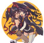 2girls animal_ears bangs bat bell black_hair blue_eyes bow cat_ears cat_girl cat_tail eyebrows_visible_through_hair fake_animal_ears hair_between_eyes halloween halloween_costume happy_halloween hat hinatsuru_ai jingle_bell leotard long_hair looking_at_viewer multiple_girls pantyhose paw_pose red_eyes ryuuou_no_oshigoto! shirabi tail tail_bow tail_raised witch witch_hat yashajin_ai
