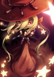 1girl blonde_hair closed_mouth collar dark_skin dress floating_hair hat highres lilium_(okame_nin) looking_at_viewer okame_nin original red_dress red_eyes red_headwear smile solo spiked_collar spikes star-shaped_pupils star_(symbol) symbol-shaped_pupils