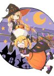 2girls alternate_color apron asameshi bat_hair_ornament black_bow black_dress black_footwear black_headwear blonde_hair blush_stickers bow braid broom broom_riding building commentary crescent_moon cross crystal dress fang flandre_scarlet full_body grin hair_bow hair_ornament halloween hat jack-o'-lantern jack-o'-lantern_print kirisame_marisa long_hair low-tied_long_hair moon multiple_girls neck_ribbon open_mouth orange_dress outstretched_arm purple_background purple_bow purple_neckwear ribbon shirt shoe_bow shoes short_sleeves single_braid smile star_(symbol) tombstone touhou tree waist_apron white_shirt wings witch_hat wrapped_candy yellow_eyes