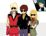 !? 1girl 3boys amuro_ray beltorchika_irma blonde_hair blue_eyes blue_hair brown_hair char_aznable gloves gundam inasaba jumpsuit kamille_bidan kerchief long_hair multiple_boys quattro_vageena short_hair smile sunglasses sweater turtleneck turtleneck_sweater zeta_gundam
