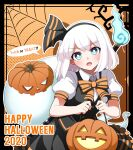 1girl bangs basket black_hairband black_skirt black_vest blue_eyes bow bowtie bright_pupils collared_shirt english_text eyebrows_visible_through_hair hairband halloween halloween_basket halloween_costume head_tilt highres hitodama holding holding_basket hoshi jack-o'-lantern konpaku_youmu konpaku_youmu_(ghost) looking_at_viewer open_mouth orange_background orange_bow orange_neckwear polka_dot polka_dot_background puffy_short_sleeves puffy_sleeves scabbard sheath shirt short_hair short_sleeves silk skirt solo speech_bubble spider_web sweat sword sword_behind_back touhou tree trick_or_treat upper_body v-shaped_eyebrows vest weapon white_hair white_shirt