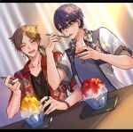 2boys :d ^_^ bangs black_shirt blue_shirt blurry blurry_background blush brown_hair checkered closed_eyes collarbone collared_shirt depth_of_field dutch_angle earrings eyebrows_visible_through_hair floral_print fushimi_gaku green_eyes hair_between_eyes hawaiian_shirt holding holding_spoon jewelry kenmochi_touya letterboxed long_hair low_ponytail magatama male_focus mole mole_under_eye multiple_boys nijisanji open_clothes open_mouth open_shirt parted_bangs ponytail print_shirt purple_hair red_shirt shaved_ice shikino_yuki shirt short_sleeves smile spoon upper_body virtual_youtuber white_shirt