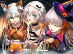 3girls absurdres animal_ears bandaged_arm bandages bangs bare_shoulders bell blush breasts closed_eyes collar dog_ears facial_scar fate/apocrypha fate/extra fate/grand_order fate_(series) green_eyes halloween_costume hat headpiece highres hoshi_rasuku huge_filesize jack_the_ripper_(fate/apocrypha) jeanne_d'arc_(fate)_(all) jeanne_d'arc_alter_santa_lily long_hair multiple_girls nursery_rhyme_(fate/extra) open_mouth ponytail scar scar_across_eye scar_on_cheek short_hair shoulder_tattoo silver_hair small_breasts smile tattoo white_hair witch_hat yellow_eyes