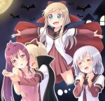 3girls =_= ahoge arm_grab bangs bat blonde_hair blood blue_eyes bow cape clenched_hands collarbone commentary_request fang grey_hair hair_bow hair_intakes halloween halloween_costume highres ikeda_chitose imagining long_hair long_sleeves medium_hair moon multiple_girls nanamori_school_uniform night nosebleed open_mouth outstretched_arms pontasu ponytail purple_hair red_bow sailor_collar school_uniform serafuku short_over_long_sleeves short_sleeves sugiura_ayano toshinou_kyouko vampire_costume violet_eyes yuri yuru_yuri
