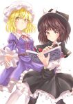 2girls absurdres blonde_hair book brown_hair capelet dress fedora hat hexagram highres holding holding_book magic_circle maribel_hearn mob_cap multiple_girls neck_ribbon purple_dress ramie_(ramie541) red_neckwear ribbon shirt star_of_david touhou usami_renko white_shirt