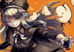 1girl bird black_capelet black_dress black_headwear blonde_hair borrowed_character bright_pupils brown_eyes capelet chick closed_mouth dress floating_hair hat highres holding holding_stick junior_(gogalking) long_hair long_sleeves looking_at_viewer okame_nin one_eye_closed orange_background original smile solo stick walking_stick