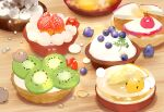 bird blueberry chai commentary_request food fruit highres kiwi_slice kiwifruit lemon lemon_slice messy no_humans original pear signature sitting_on_food strawberry tart_(food) undersized_animal wooden_table