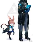 1boy 1girl 1other amiya_(arknights) animal_ear_fluff animal_ears arknights ascot bangs black_footwear black_gloves black_jacket black_legwear black_pants blue_eyes blue_neckwear blue_skirt blush brown_hair commentary_request doctor_(arknights) eyebrows_visible_through_hair gloves hair_between_eyes hand_up highres holding jacket long_hair long_sleeves looking_down low_ponytail notepad open_clothes open_jacket pants pantyhose pleated_skirt ponytail puffy_long_sleeves puffy_sleeves qys3 rabbit_ears shadow shirt shoes skirt sleeves_past_wrists solo_focus standing twitter_username very_long_hair white_background white_shirt younger
