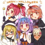 5girls :d alternate_costume blonde_hair blush closed_eyes cocoperino commentary eyebrows_visible_through_hair fang food_themed_hair_ornament glasses gloves hair_ornament hair_ribbon halloween halloween_costume happy_halloween hat i-19_(kantai_collection) i-58_(kantai_collection) i-8_(kantai_collection) jack-o'-lantern kantai_collection long_hair looking_at_another looking_at_viewer multiple_girls open_mouth pink_eyes pink_hair pumpkin_hair_ornament purple_hair red_eyes ribbon ro-500_(kantai_collection) short_hair simple_background skin_fang smile twintails white_background witch_hat